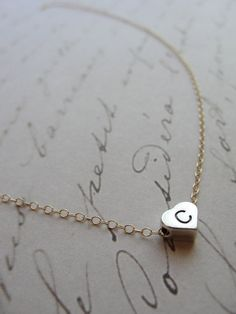 Tiny silver initial charm on gold necklace   by OliveYewJewels, $31.00