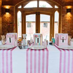 Pink and White Stripe Table Runner - 5m roll
