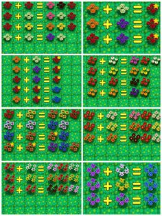 Animal Crossing New Leaf hybrid guide.  The stars on the roses are created hybrids. Animal Crossing Guide, Animal Crossing Wild World, Animal Crossing Pocket Camp, Gato Animal, My Animal, Ac New Leaf, Plant Aesthetic, Acnl Paths, Happy Home Designer