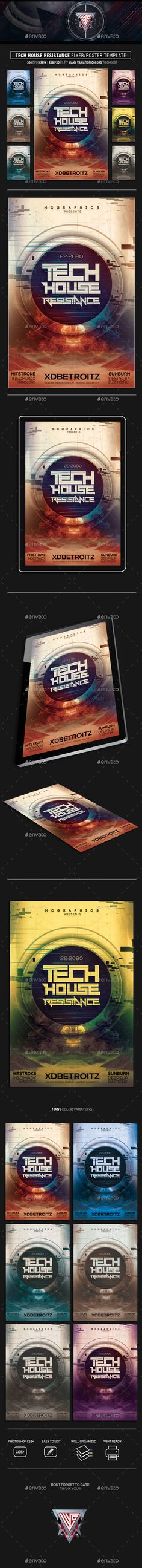 Tech House Resistance #Flyer / Poster Template - Events Flyers