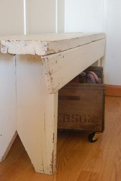 Perfect Bench for Entry closet and put crates under! A Rolling Wood Crate. Add casters to a wooden wine crate.