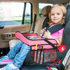 Keep little ones occupied in the car with this travel tray featuring a water-repellent coating for quick clean-ups and mesh pockets on the side to keep activities handy. Toddler Car Seat, Baby Car Seats, Toddler Activities, Toddler Crafts, Toddler Toys, Kids Toys, Car Seat Tray, Cute Car Accessories, Denim Look