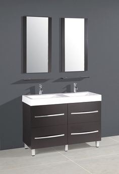 48 Inch Double Sink Bathroom Vanity In Espresso With A White Ceramic Top