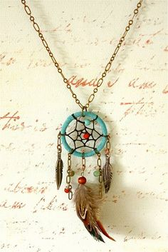 I love this. Dream catcher as a necklace.