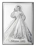 Srebrny obrazek Jezu Ufam Tobie, piękny prezent dla dziecka z okazji I Komunii Świętej. #chrzest #rocznica #bierzmowanie