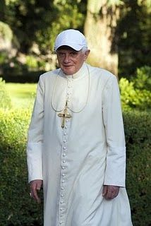 Pope Benedict sporting a ball cap--I thought the young kids would appreciate our Holy Father dressed in a ball cap!!