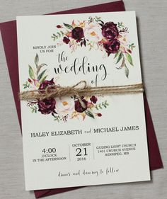 Marsala Wedding Invitation Suite, Burgundy Pink, Bohemian Wedding Invite Set, Rustic Floral Wedding Invitation, Boho Chic wedding