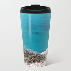 Edge Of The Turquoise Cliff Travel Mug by selectmugs Travel Mugs, Wraparound, Decorative Pillows, Stainless Steel, Cleaning, Cold, Drinks, Metal, Tableware
