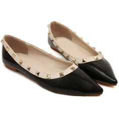 Black With Rivet Point Toe Flats (£17) ❤ liked on Polyvore
