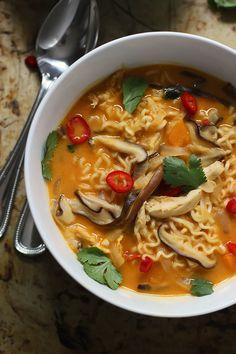 Spicy Thai-Style Pumpkin and Butternut Ramen by cookingforkeeps: 30 minutes. #Ramen #Pumpkin #Butternut_Squash