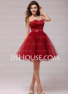 Homecoming Dresses - $106.99 - A-Line/Princess Sweetheart Knee-Length Satin Tulle Homecoming Dresses With Beading (022013975) http://jjshouse.com/A-line-Princess-Sweetheart-Knee-length-Satin-Tulle-Homecoming-Dresses-With-Beading-022013975-g13975
