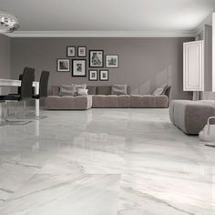Calacatta White Gloss Floor Tiles Have An Attractive Marble Effect Finish These Large