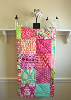 Baby Quilt -  Annika Pink -  Flannel or Minky Backing - Toddler Quilt - Pink, Orange, Turquoise, and Green