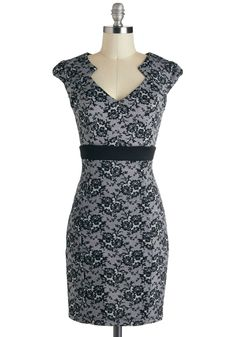 Smash Hit Showgoer Dress - Mid-length, Black, White, Floral, Party, Cap Sleeves, Grey, Cocktail, Holiday Party, Film Noir, Vintage Inspired, 40s, Sheath / Shift