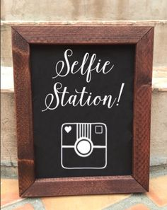 A personal favorite from my Etsy shop https://www.etsy.com/listing/236610404/chalkboard-wedding-sign-selfie-station