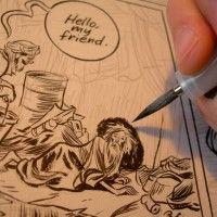 "Craig Thompson working on the comic book ""HABIBI"""