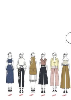 Fashion Sketchbook - fashion illustrations; line up; fashion portfolio // Florence Bourne Orme