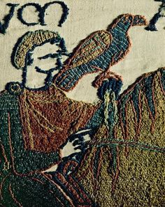 Bayeux Tapestry- embroidery; Harold on horseback, his falcon on his wrist. Here ha was either a prisoner or a guest of Count Guy de Ponthieu in Beaurain (c 1054).Location:Musee de la Tapisserie, Bayeux, France