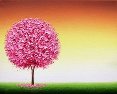 Cherry Blossom Tree Painting, ORIGINAL Oil Painting, Textured Spring Pink Tree Wall Art, Contemporary Art Landscape, Impasto Painting, 8x10 by BingArt on Etsy
