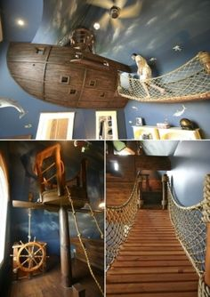 Sail off to dream land in this Pirate Ship bedroom. Home Bedroom, Kids Bedroom, Pirate Bedroom, 6 Year Old Boy Bedroom, Library Bedroom, Cool Kids Rooms, Room Kids, Kids Room Design, Awesome Bedrooms