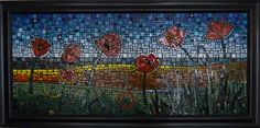 Vitreous tile, glass gems, stained glass, millefiori on wood substrate.  18.5 X 43 without frame.  24 X 48 with frame.