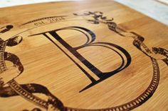 Personalized cutting board made from sustainable bamboo wood. Custom engagement, wedding or anniversary gift.  Personalized with an initial and date of your choice. | Made by people who care on Hatch.co