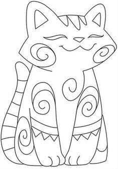 Cat Coloring Page, Colouring Pages, Cat Crafts, Rock Crafts, Punch Needle Patterns, Cat Quilt, Rock Painting Designs, Cat Pattern, Mandala Coloring