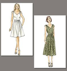Vogue 8645.  Loose-fitting, pullover, lined dresses have front and back v-neck with removable ties.
