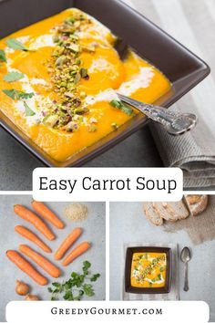 How To Make Carrot Soup - Master this simple carrot soup recipe forever, and make it for years to come! Gourmet Recipes, Soup Recipes, Vegetarian Recipes, Dinner Recipes, Cooking Recipes, Healthy Recipes, Breakfast Recipes, Healthy Soups, Carrot Recipes