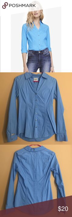 Express The Essential Fitted Shirt Great condition! The Essential Fitted Shirt by Express. Fitted. Light blue color. Size small. Bundle to save Express Tops Button Down Shirts