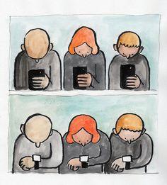 Je kunt het niet meer ontkennen. We zijn met z'n allen behoorlijk verslaafd aan onze smartphone. En deze illustraties laten zien waarom.