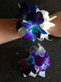 Prom BLING Wrist Corsage & matching Boutonniere  Blue & White Orchids  http://www.pristinefloraldesign.com/ https://www.facebook.com/PristineFloralDesign