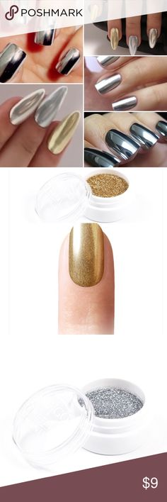 Metallic Chrome Nail Powders Nail mirror effect powder for perfect metallics, polish your nails with these amazing powders you are gonna love them!!! Single 5gr $9 - KIT $49 gold/silver Other