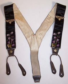 Victorian Crown Make Violet Embroidered Mourning Braces Suspenders