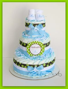 Air Jordan Diaper Cake , ANY COLORS , Baby Shower Decorations , Blue and Green Diaper Cake