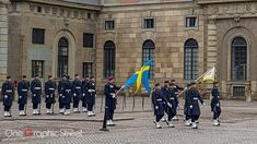 Changing the royal guard of Sweden.