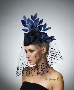Navy Cocktail hat Couture vintage hat headpiece with by ArturoRios. To see the source оf this item click on the picture. Please also visit my Etsy shop LarisaBоutique: https://www.etsy.com/shop/LarisaBoutique Thanks!