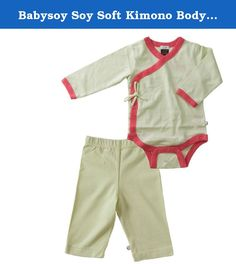 Babysoy Soy Soft Kimono Bodysuit and Slip On Pants Set in Tea (18-24M). Save when you buy as a set. Set includes 1 kimono bodysuit & 1 Slip On Pants 50% cotton + 50% azlon from soy Eco friendly, fairly made, affordable, quality baby clothes Machine wash & dry cold.