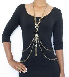 Tribal Fusion Body necklace Harness Chain tribal от Gekajewellery