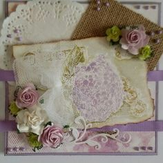 White embossing and old postcard hydrangea stamp by Joycrafts