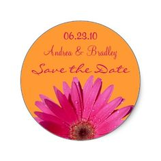 Orange and pink gerbera daisy wedding stickers. #weddings #stickers