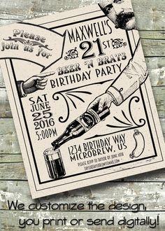 Retro Beer Festival ~ Craft Beer Birthday ~ Beer and Brats ~ 5x7 Invite ~ 8.5x11 Flyer ~ 11x14 Poster ~ 300 dpi Digital Invitation by DitDitDigital on Etsy https://www.etsy.com/listing/270933322/retro-beer-festival-craft-beer-birthday