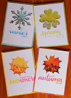 - Seasonal Shaker Cards - featuring The Big, the Bold and Seasons stamps and Digital Elements: A Tree for All Seasons and The Big, the Bold and Seasons. Atc Cards, Card Tags, Greeting Cards, Card Making Inspiration, Making Ideas, Shaker Cards, Stamping Up, Creative Cards, Scrapbook Cards