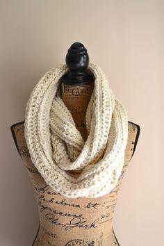 Chunky Crochet Infinity Scarf, Cream Infinity Scarf, Crochet Infinity, Double Loop Scarf ThisFreckledFlower