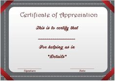 Certificate Of Appreciation For Donation  Thank You Certificates
