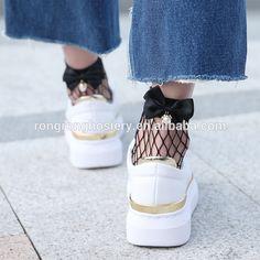 Women Street Chic Outfits Bowknot Spliced Cute Fishnet Socks