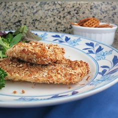 Pretzel-crusted chicken (baked). Lower calorie than other breaded chicken recipes.