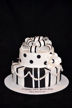 black and white cake for a black and white themed 21st