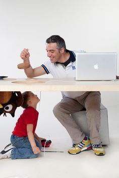 """Tabhole was born to increase the versatility of the top and give surplus value to the usually unused intrados of the table. The goal is to create new relationships between the adult world """"above"""" and the world of children """"underneath"""" and give children a space around them to live as they wish."""