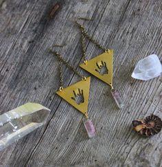 Jerry Garcia Triangle earrings / handmade grateful dead  raw crystal jewelry by OrganicAlchemist   heady watermelon tourmaline